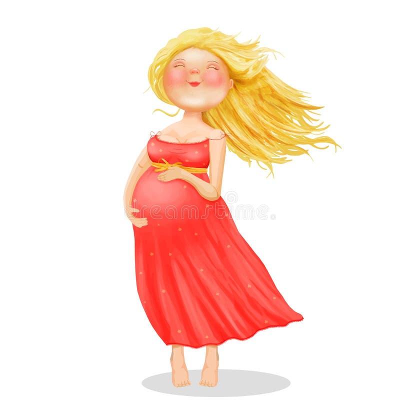 Vector иллюстрация молодой красивой беременной белокурой женщины в красном платье иллюстрация вектора