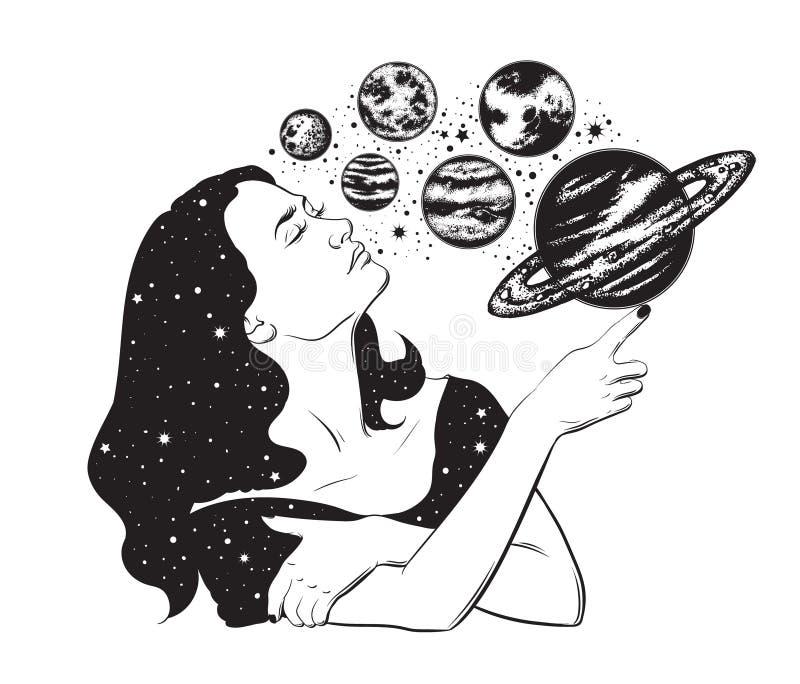 Vector иллюстрация нарисованная рукой головы ` s женщин с планетами иллюстрация штока