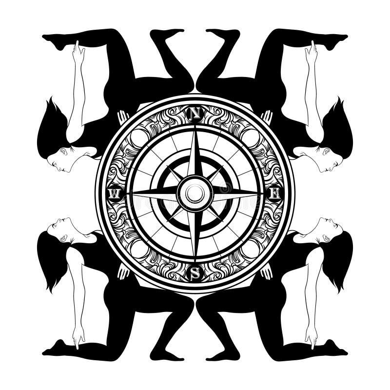 Vector иллюстрация нарисованная рукой девушек на их коленях и компасе иллюстрация вектора