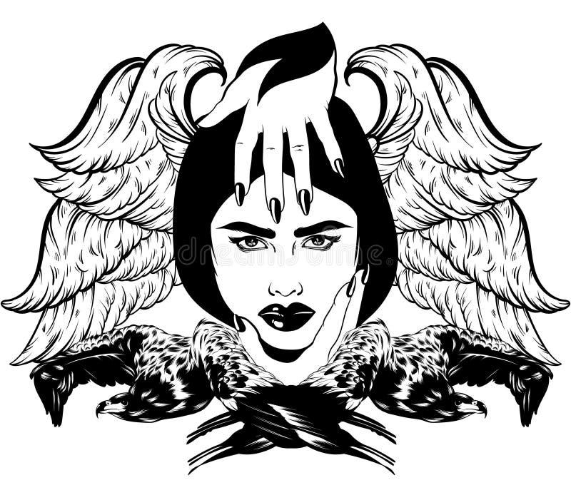 Vector иллюстрация нарисованная рукой изолированных орла и девушки иллюстрация вектора