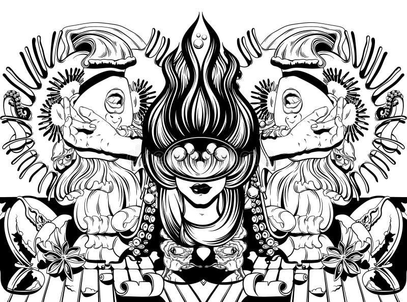 Vector иллюстрация нарисованная рукой с кричащей девушкой, щупальцами, розами, flytrap Венеры иллюстрация штока