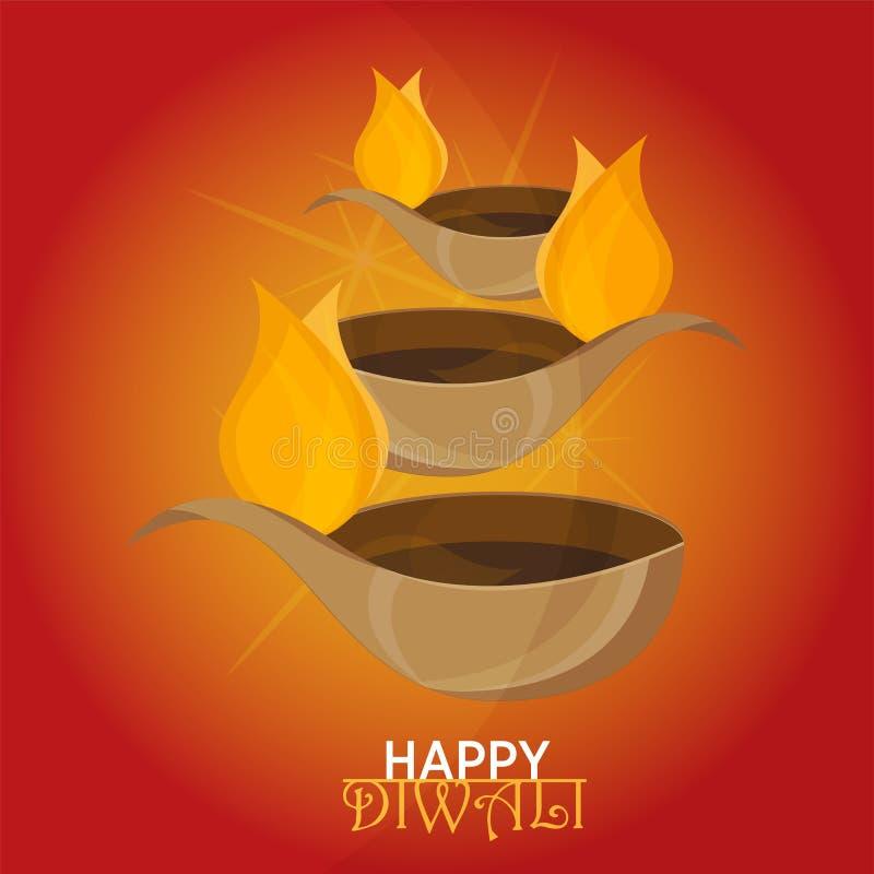 Vector иллюстрация на теме традиционного торжества счастливого diwali иллюстрация штока