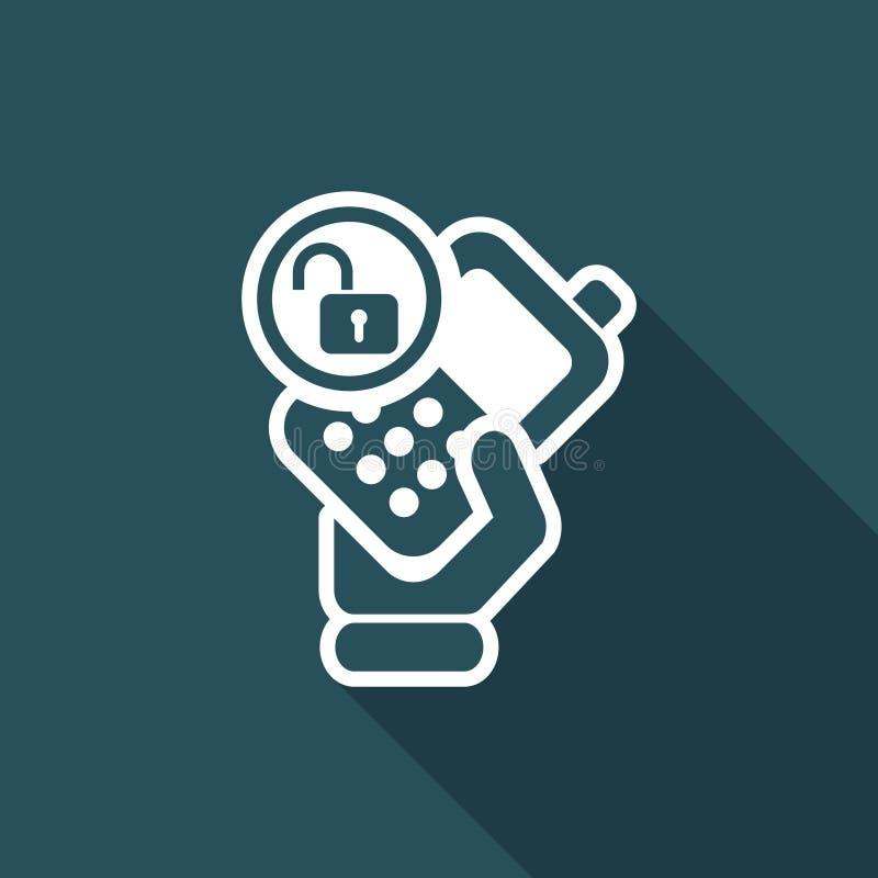 Vector иллюстрация одиночного изолированного значка замка телефона бесплатная иллюстрация