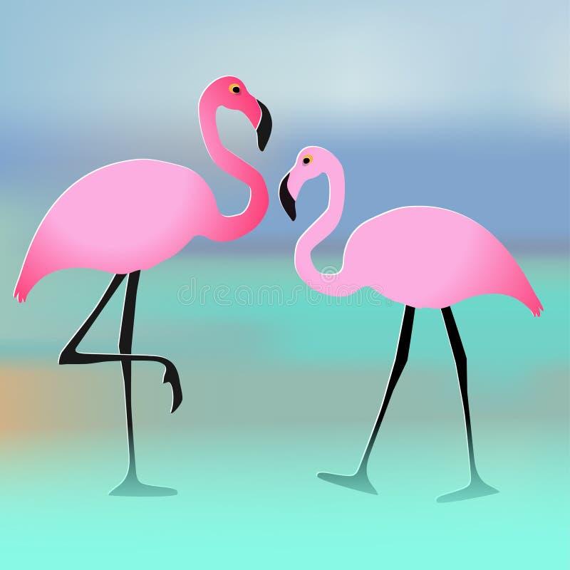 Vector иллюстрация пинка 2 пар фламинго на предпосылке пляжа multicolor иллюстрация вектора