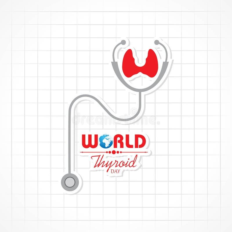 Vector иллюстрация плаката дня тиреоида мира - медицинская концепция иллюстрация вектора