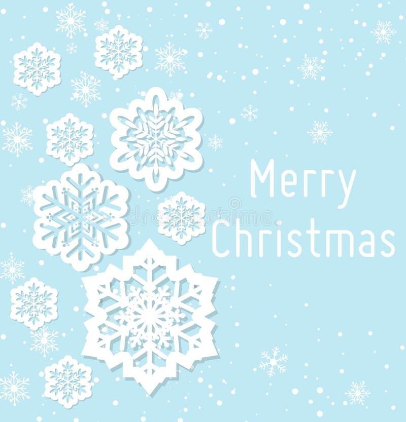 Vector иллюстрация поздравительной открытки рождества в абстрактном дизайне с снежинками и космоса для текста в плоском стиле иллюстрация вектора