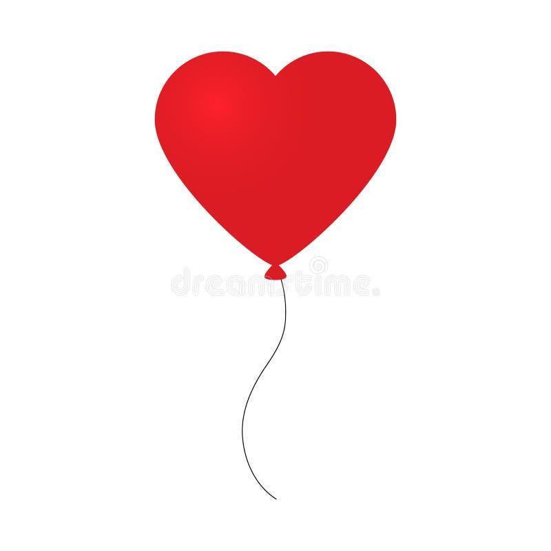 Vector иллюстрация праздника летать красный воздушный шар в форме сердца на светлой предпосылке иллюстрация вектора