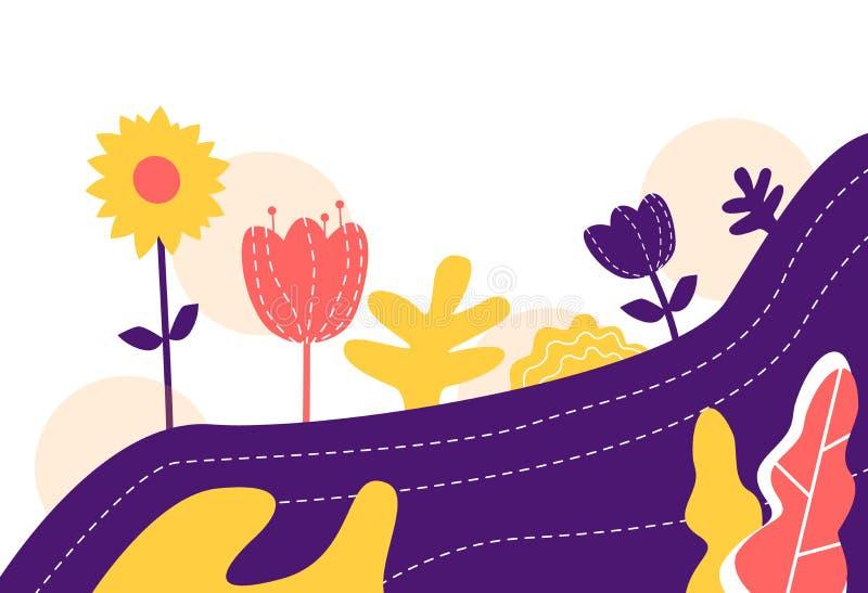 Vector иллюстрация предпосылки цветков конспекта минимальной плоской иллюстрация штока