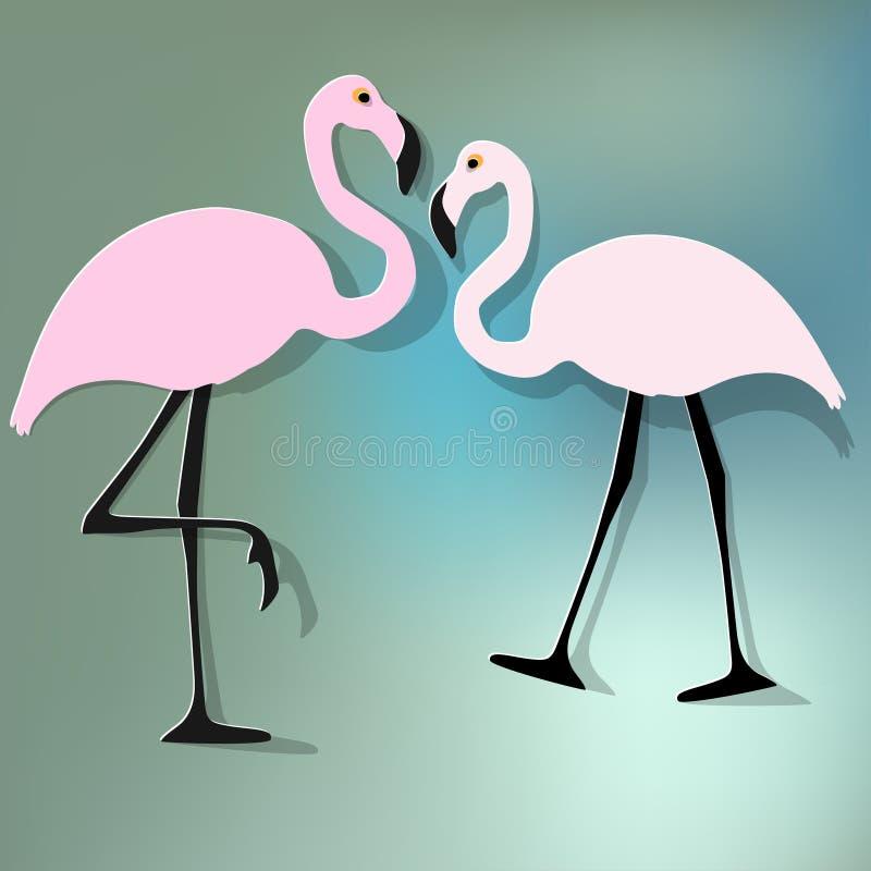 Vector иллюстрация предпосылки bokeh пинка 2 пар фламинго голубой иллюстрация штока