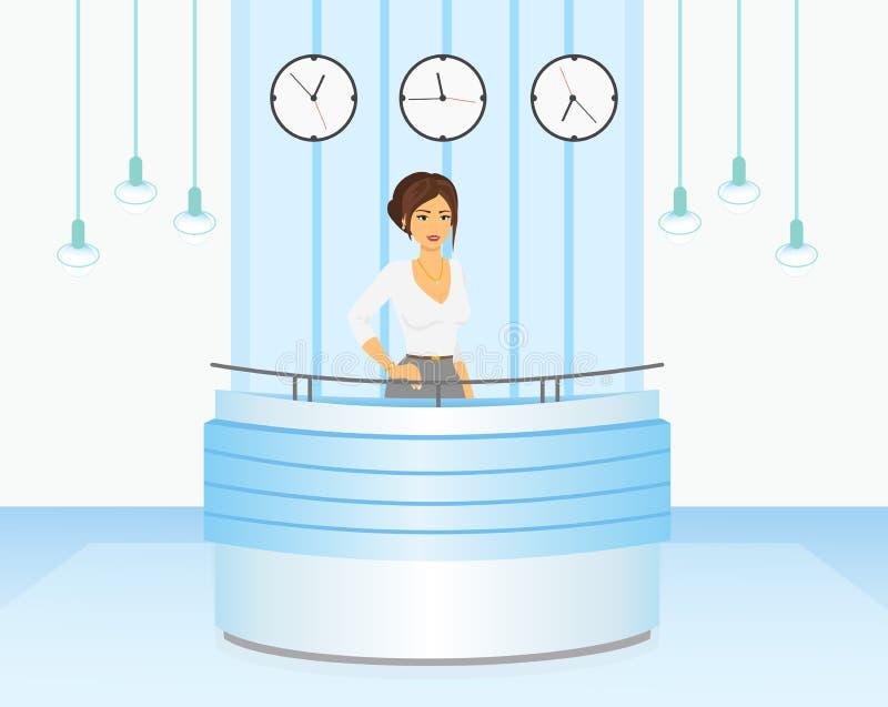 Vector иллюстрация приемной менеджера женщины в свете - голубых цветах внутренних Консьерж-сервис в плоском шарже бесплатная иллюстрация