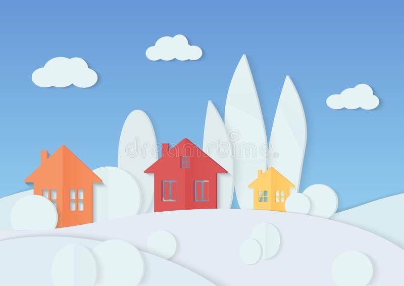 Vector иллюстрация простых красочных домов помещенных в минимальных деревьях покрытых с снегом Деревня рождества зимы бесплатная иллюстрация