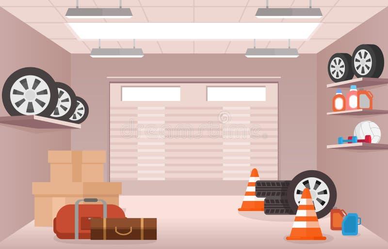 Vector иллюстрация пустого интерьера гаража, с некоторыми коробками, автошинами и сумками в плоском стиле шаржа иллюстрация штока