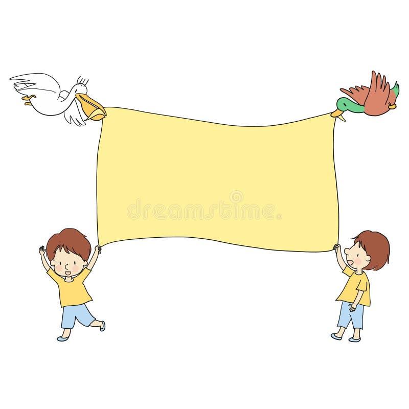 Vector иллюстрация пустой предпосылки с 2 маленькими ребеятами и 2 животными, пеликаном и утками иллюстрация штока