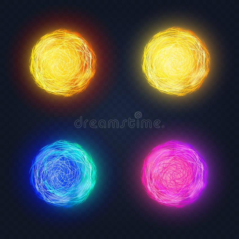 Vector иллюстрация различных абстрактных светящих покрашенных кругов формы накаляя на темной предпосылке иллюстрация вектора