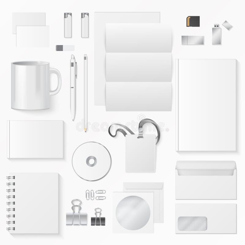Vector иллюстрация различных белых канцелярские товаров на белой предпосылке Элементы фирменного стиля иллюстрация вектора