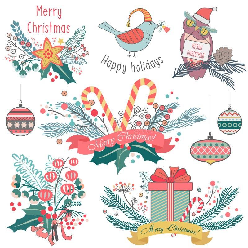 Vector иллюстрация различных животных и эмблем украшений для рождества иллюстрация вектора