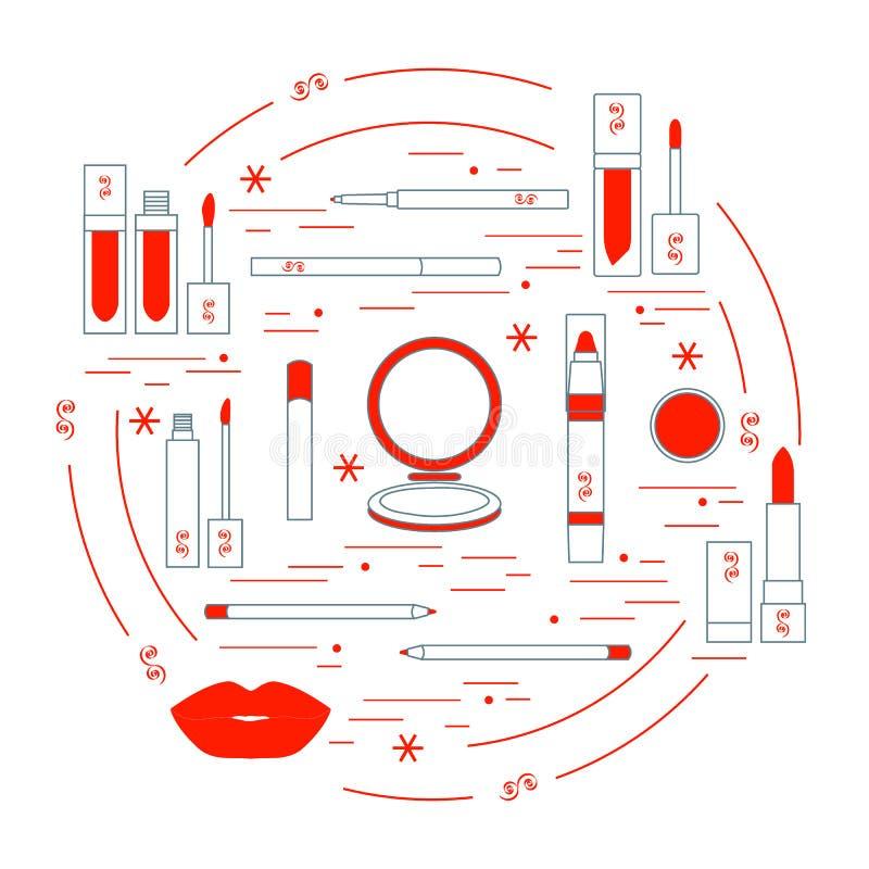 Vector иллюстрация различных инструментов состава губы аранжированных в a иллюстрация штока