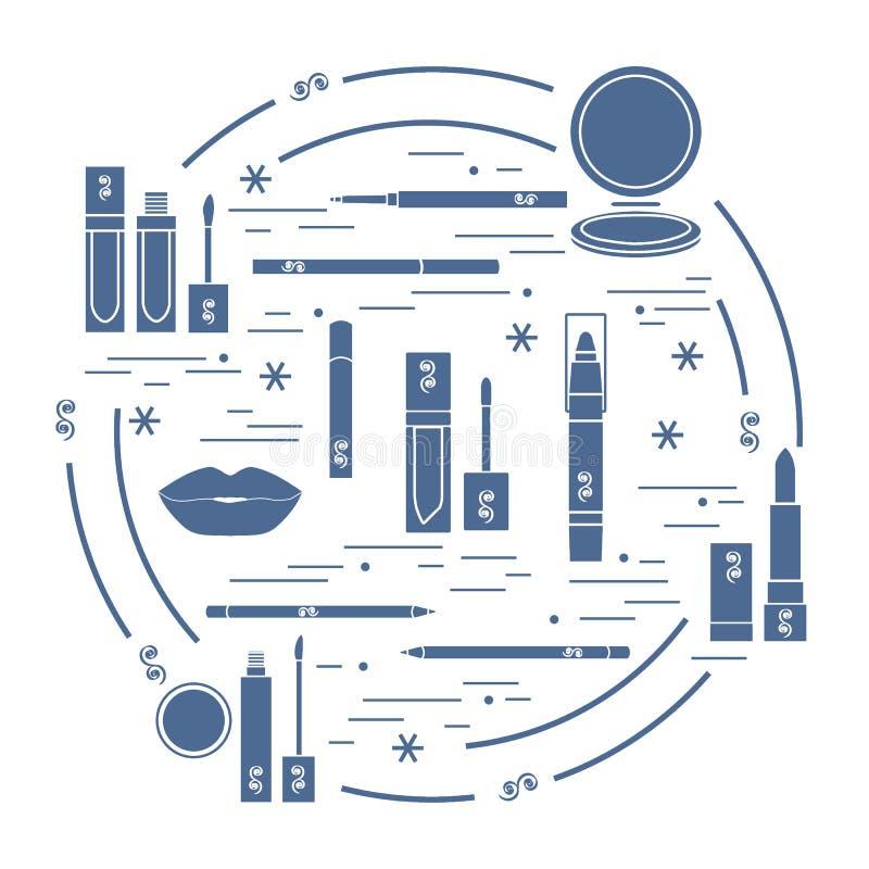 Vector иллюстрация различных инструментов состава губы аранжированных в a иллюстрация вектора