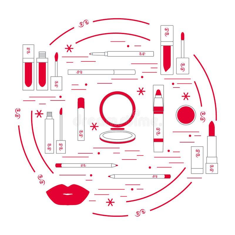 Vector иллюстрация различных инструментов состава губы аранжированных в a бесплатная иллюстрация