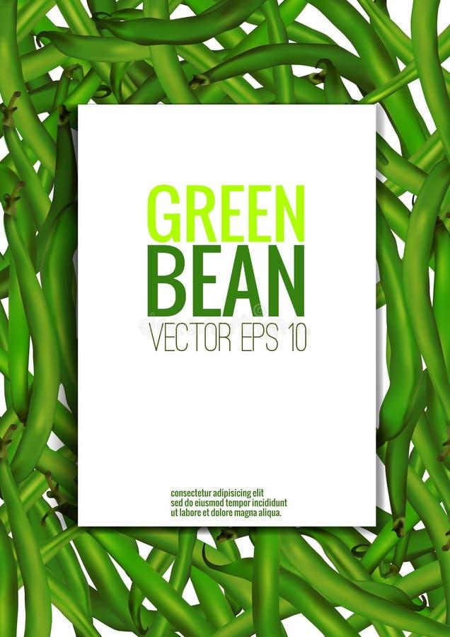 Vector иллюстрация, реалистические зеленые фасоли с рамкой и место иллюстрация вектора