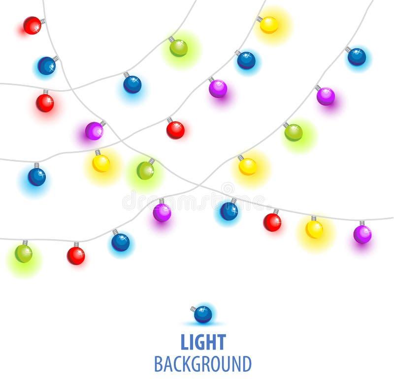 Vector иллюстрация рождества, светов Нового Года изолированных на предпосылке бесплатная иллюстрация