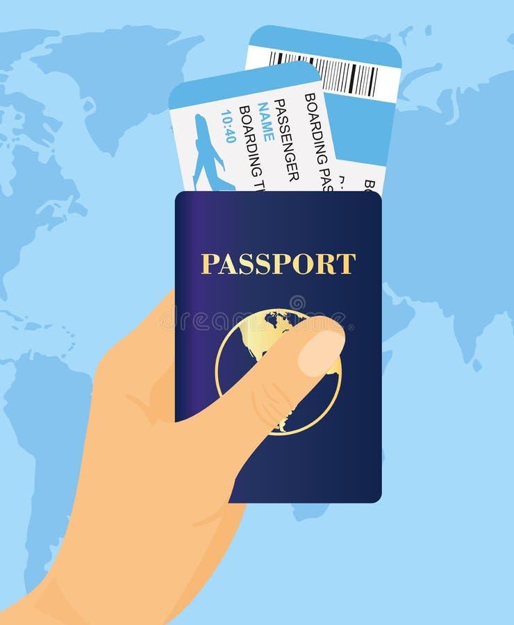Vector иллюстрация руки держа пасспорт с билетами на предпосылке карты мира Перемещение и туризм концепции бесплатная иллюстрация