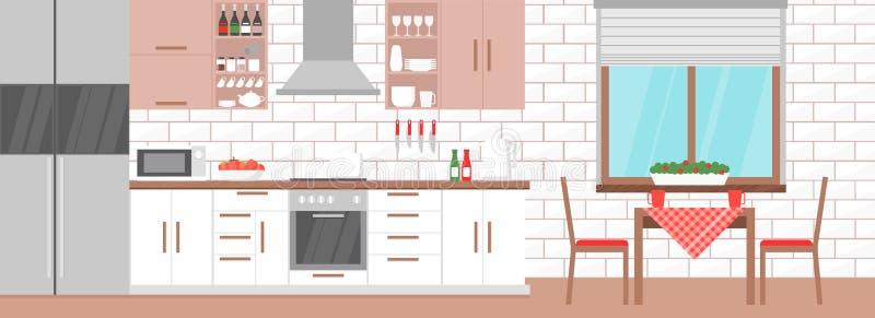 Vector иллюстрация современного интерьера кухни с таблицей, плитой, кухонным шкафом, блюдами в светлых цветах, плоском дизайне иллюстрация штока