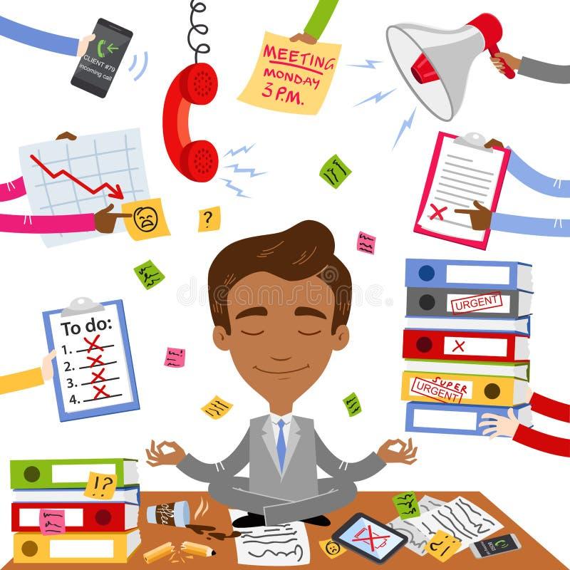 Vector иллюстрация спокойного азиатского бизнесмена сидя на его столе делая йогу при обработка документов, стресс и хаос окружая  иллюстрация вектора