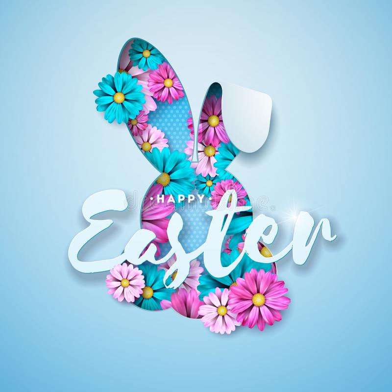 Vector иллюстрация счастливого праздника пасхи с цветком весны в славном силуэте стороны кролика на свете - голубой предпосылке иллюстрация штока