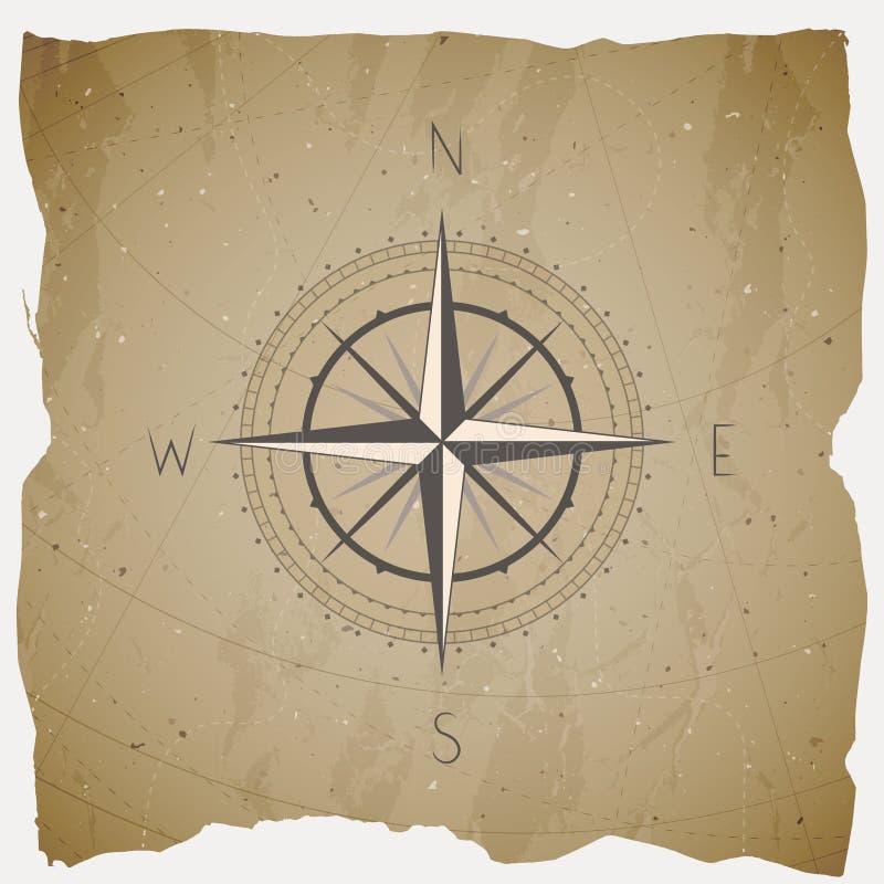 Vector иллюстрация с винтажным компасом или ветер поднял на предпосылку grunge иллюстрация вектора