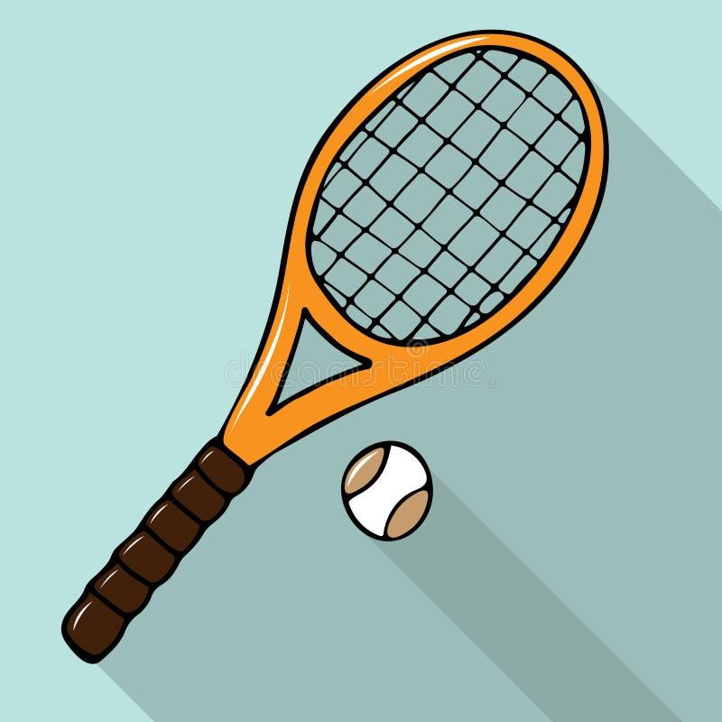 Vector иллюстрация с нарисованной вручную ракеткой и шариком тенниса иллюстрация вектора