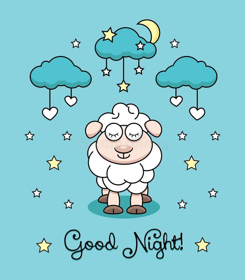 Vector иллюстрация с овечкой, луной, облаком и играйте главные роли сердца иллюстрация штока