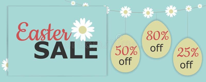 Vector иллюстрация с пасхальными яйцами, цветками стоцвета, продажей пасхи фразой, скидкой, и гирляндой стоцвета иллюстрация вектора