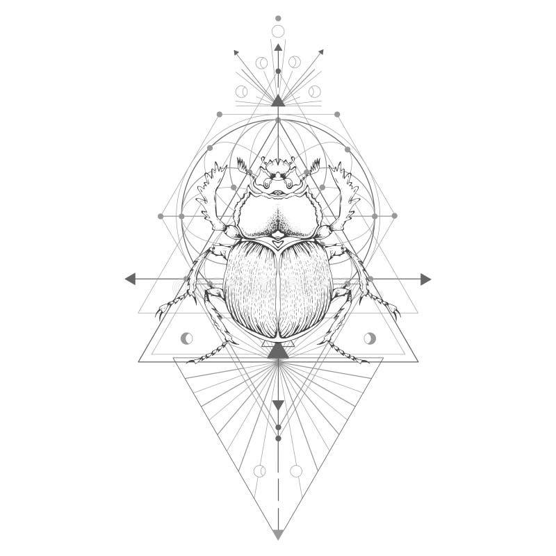 Vector иллюстрация с скарабеем нарисованным рукой и священный геометрический символ на белой предпосылке иллюстрация вектора