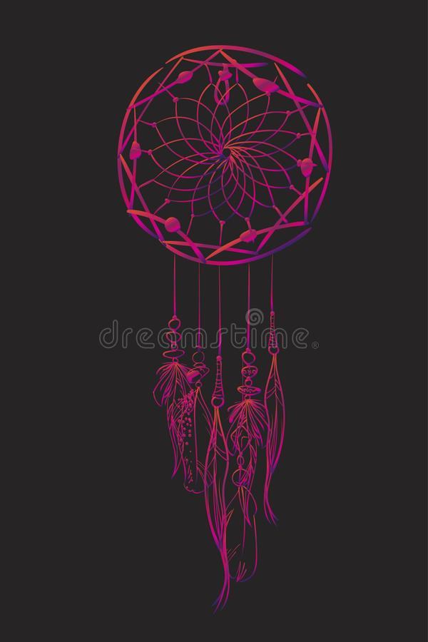 Vector иллюстрация с улавливателем мечты пинка на черной предпосылке Богато украшенные этнические детали, пер, шарики бесплатная иллюстрация