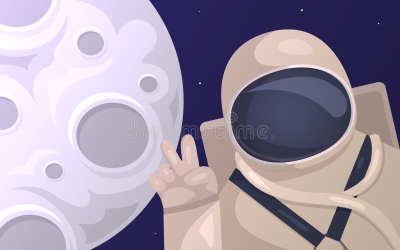 Vector иллюстрация туристского астронавта фотографируя на фоне луны Туризм в космосе иллюстрация вектора