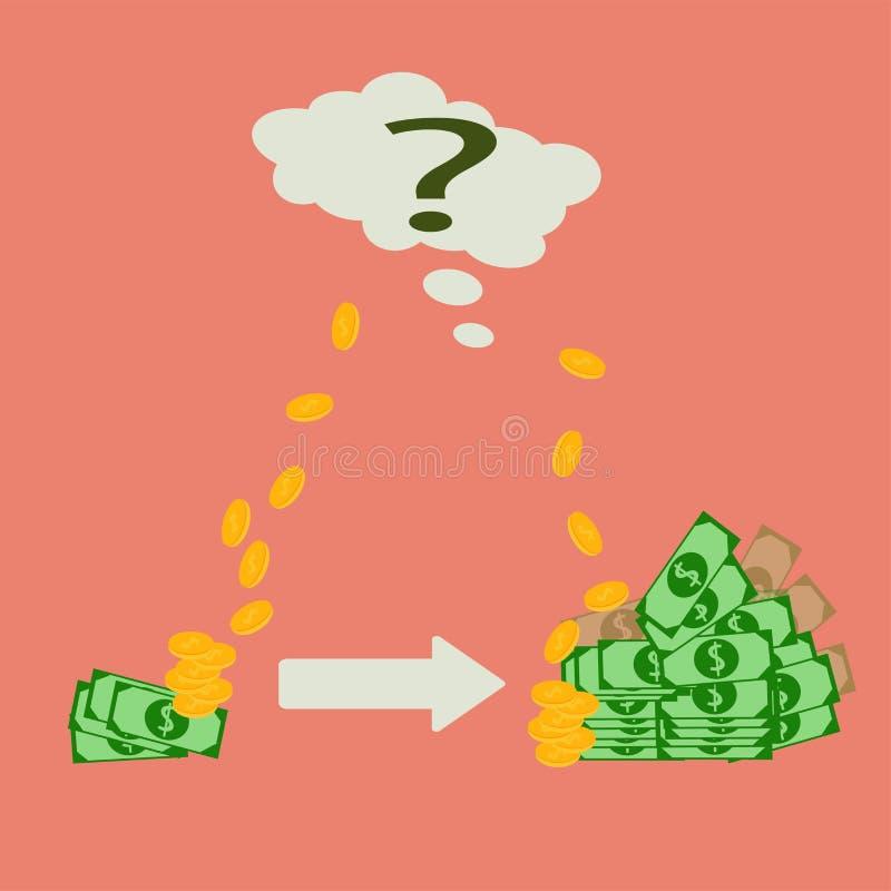 Vector иллюстрация увеличения в деньгах бизнес-плана иллюстрация вектора