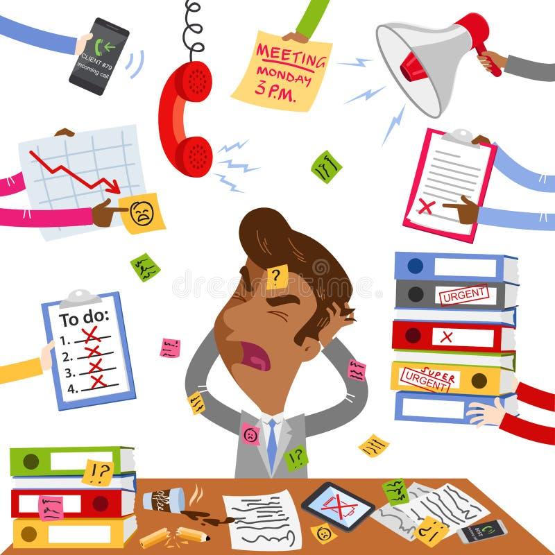 Vector иллюстрация усиленного вне азиатского бизнесмена шаржа кричащего и сокрушанного незаконченной обработкой документов и дозн иллюстрация штока
