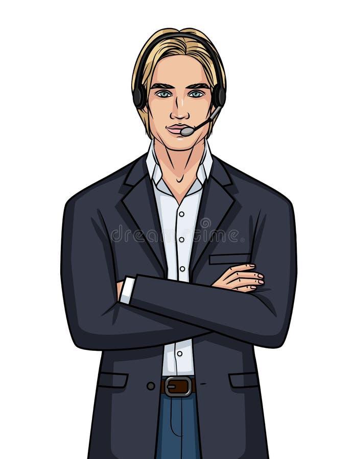 Vector иллюстрация цвета парня в говорить костюма и наушников онлайн бесплатная иллюстрация