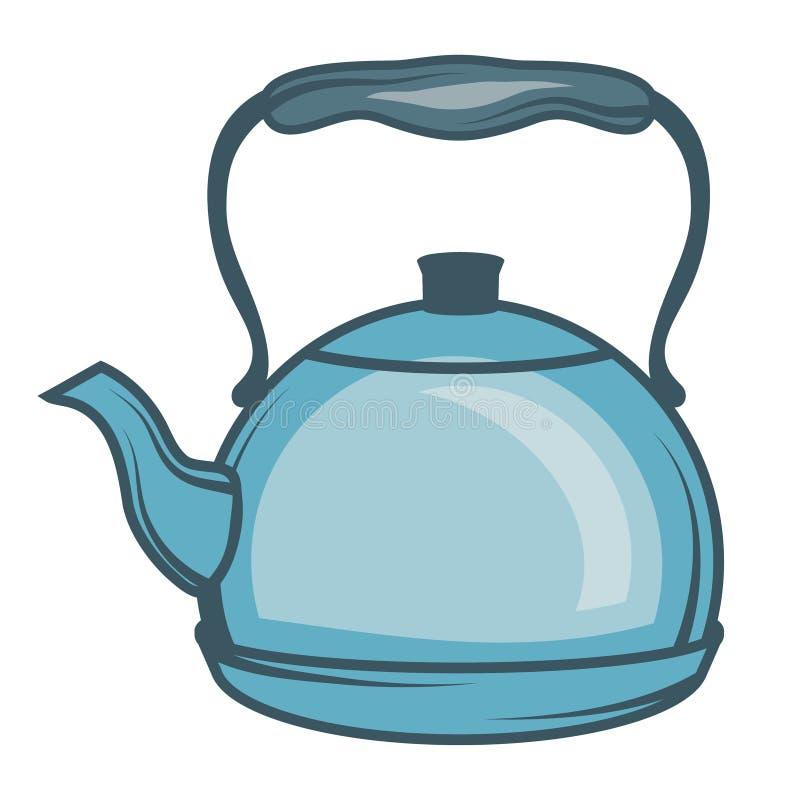 Vector иллюстрация чайника, руки нарисованный чайник на белой предпосылке, логотипе чайника иллюстрация вектора