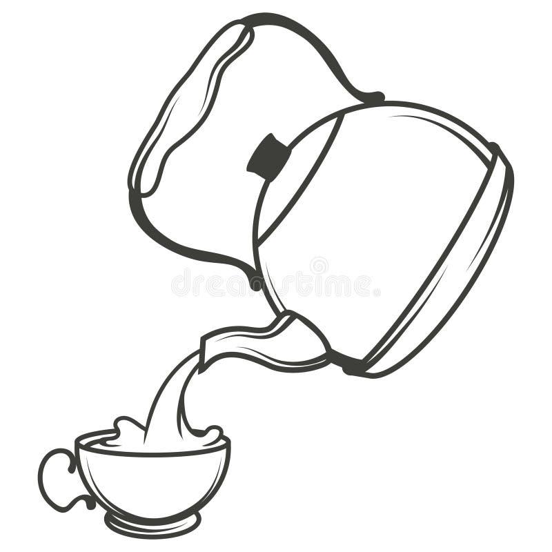 Vector иллюстрация чайника, руки нарисованный чайник на белой предпосылке, логотипе чайника бесплатная иллюстрация