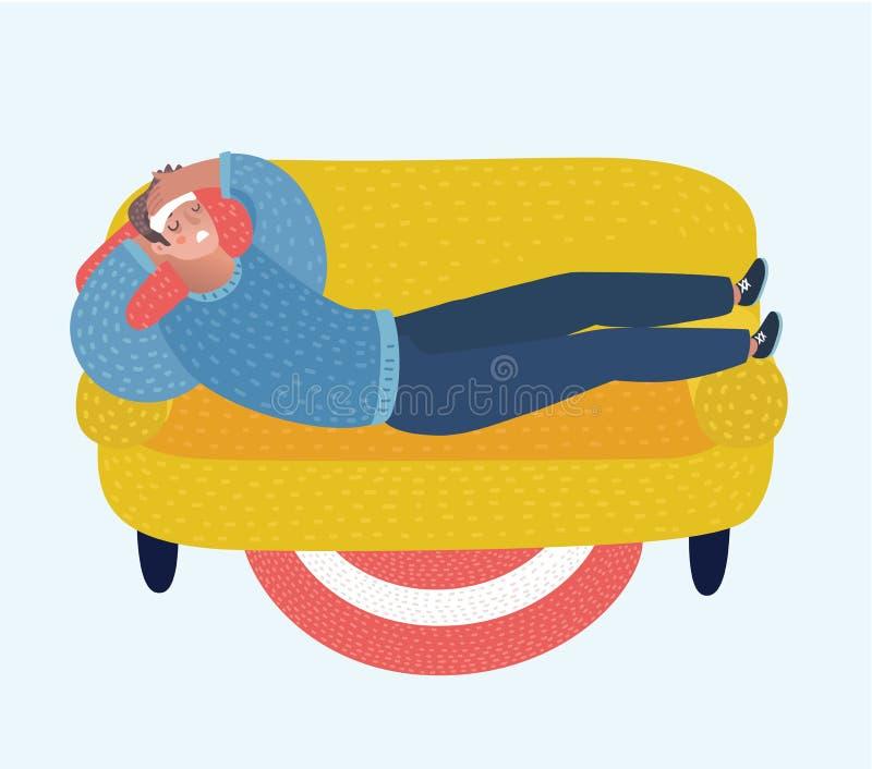 Vector иллюстрация человека шаржа лежа с обжатием на лбе на софе и страдая с головной болью бесплатная иллюстрация