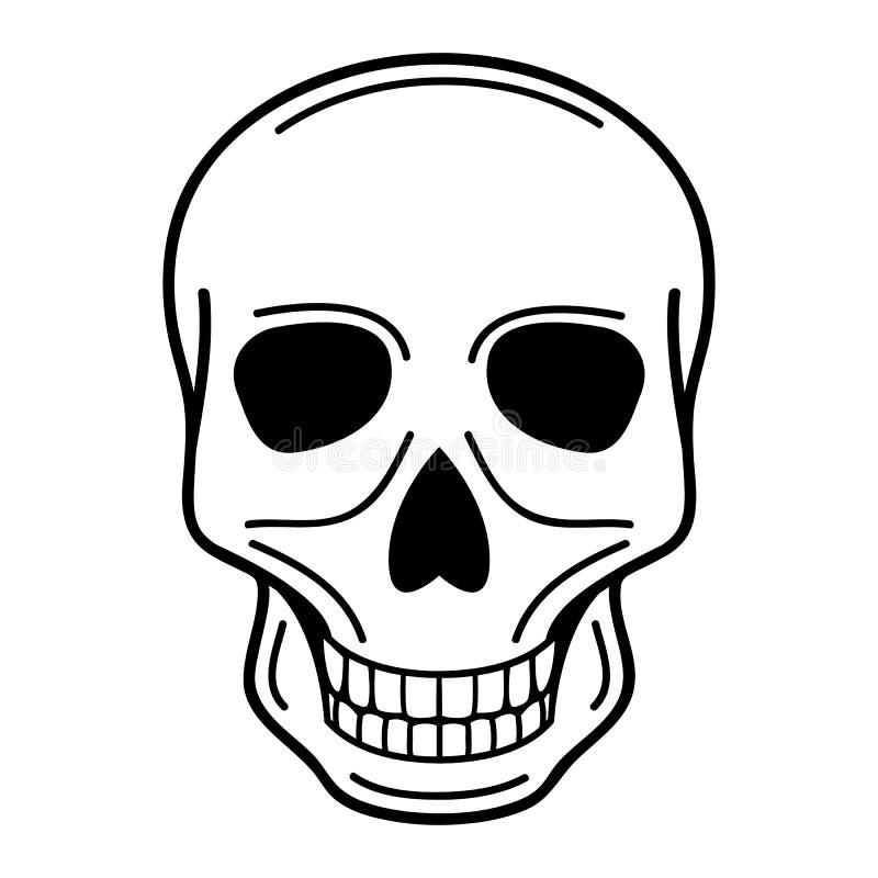 Vector иллюстрация человеческого черепа на изолированной предпосылке иллюстрация вектора