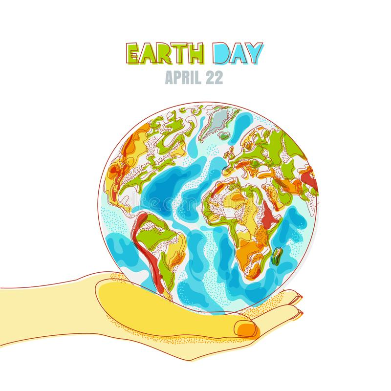Vector иллюстрация человеческой руки держа планету глауконита Сохраньте день земли, экологический, концепцию экологичности иллюстрация вектора