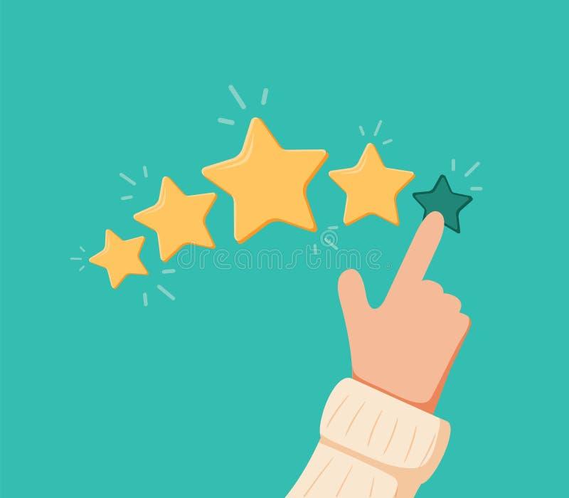 Vector иллюстрация шаржа смешная пальца выбора оценки Человеческими оценка положенная руками ряд 5 звезд бесплатная иллюстрация