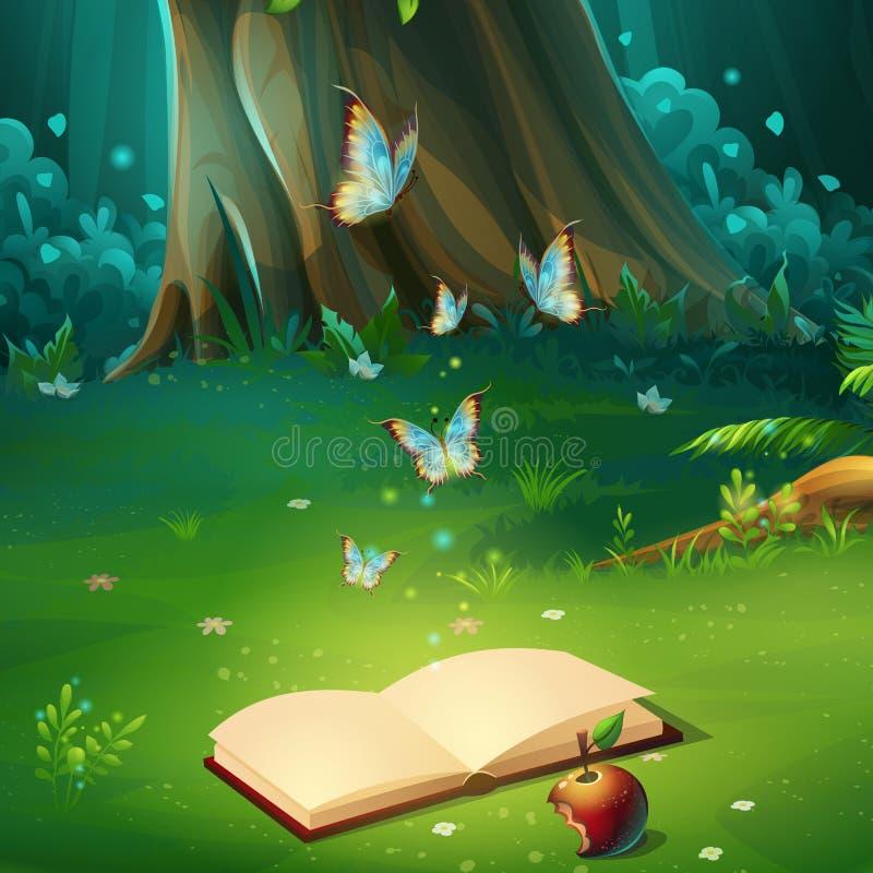 Vector иллюстрация шаржа glade леса предпосылки с книгой иллюстрация вектора