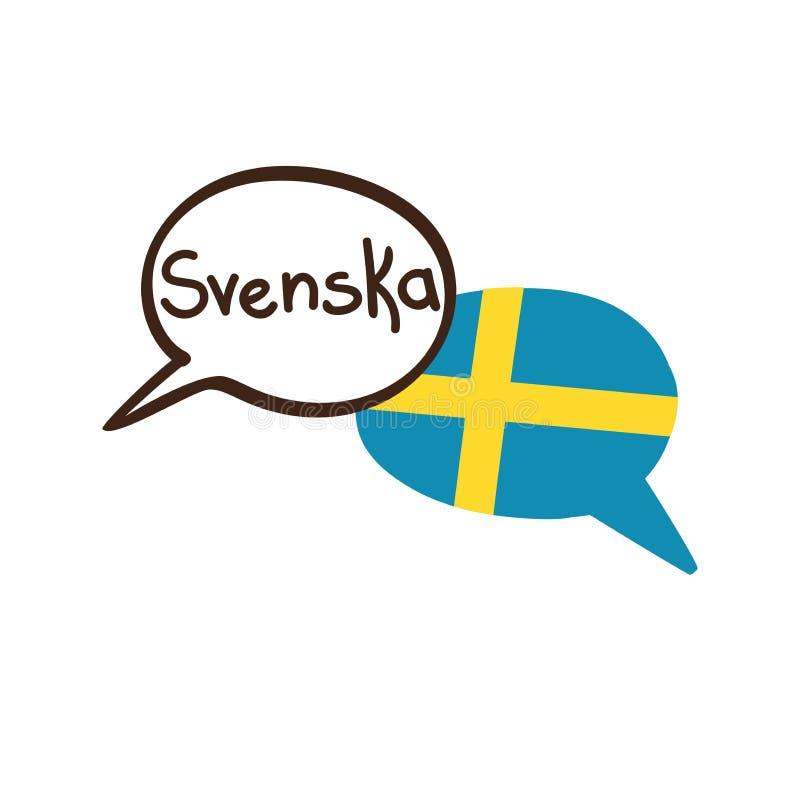 Vector иллюстрация шведского языка и флаг Швеции бесплатная иллюстрация