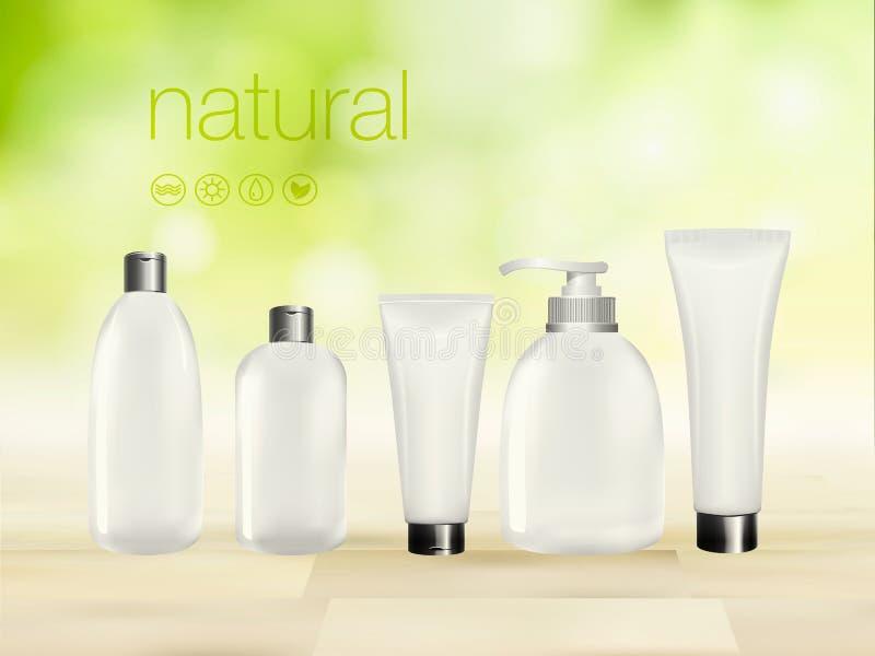 Vector иллюстрация 3D с зелеными costemic объявлениями продукта, шаблоном состава, кожей и пакетом пробела сливк заботы тела прот бесплатная иллюстрация