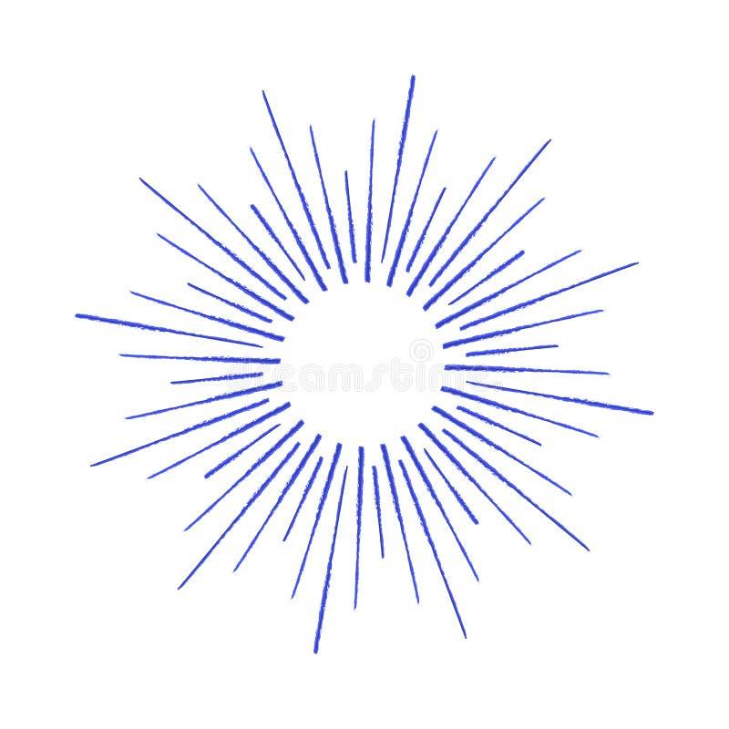Vector линейный чертеж лучей солнца или солнце разрывало чернилами иллюстрация штока