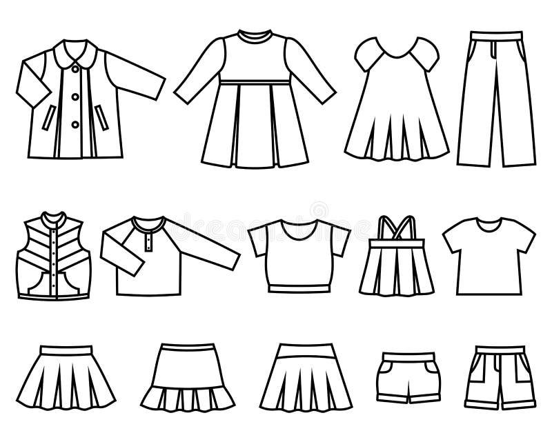 Vector линия значки одежд младенца для девушек стоковое изображение